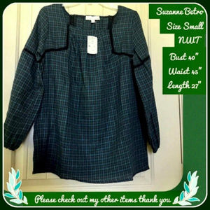 NWT S SUZANNE BETRO forest green PLAID top MSRP 66